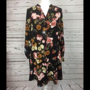 H & M Size 8 Button Down Long Sleeve Floral Dress
